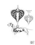 Sterling Silver Dachshund Wirehaired Pendant, w/Badger in Body w/Healing Angels -- new