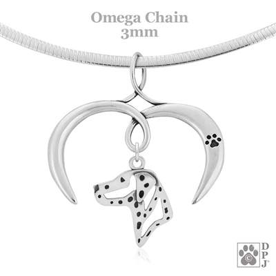 I Love My Dalmation Necklace, Sterling Silver Dalmation necklace