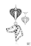 Sterling Silver Dalmatian Pendant, Head w/Healing Angels -- new