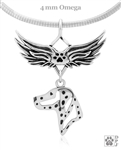 Sterling Silver Dalmation Pendant, Head, w/Tears In Heaven -- new