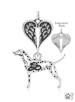Sterling Silver Dalmatian Pendant, w/Fire Hat in Body w/Healing Angels -- new