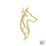 14K Gold Doberman Pinscher Charm, 14K Gold Dobe Charm, 14K Gold Dobe Pendant, 14K Gold Doberman Pinscher Pendant, 14K Gold Doberman Pinscher Necklace