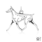 Sterling Silver Doberman Charm, Doberman Pendant Necklace, Doberman Jewelry, Doberman Gifts, Dobe Lover