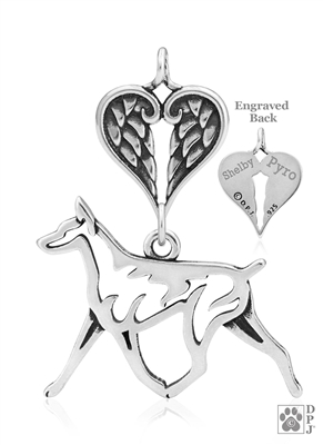 Sterling Silver Doberman Pinscher Memorial Necklace, Doberman Angel Jewelry