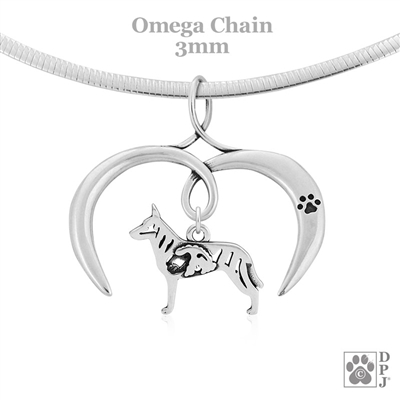 I Love My Dutch Shepherd Necklace, Sterling Silver Dutch Shepherd necklace