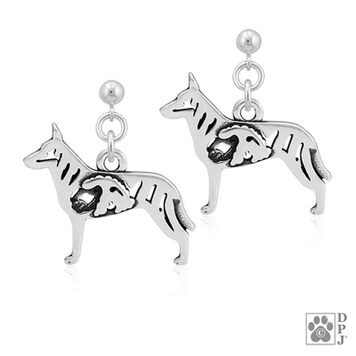 Sterling Silver Dutch Shepherd Earrings, Dutch Shepherd Jewelry, Dutch Shepherd Gifts, Dutch Shepherd Lovers