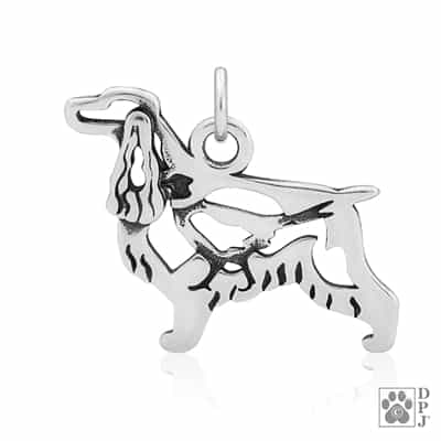 Sterling Silver English Cocker Spaniel Charm, English Cocker Pendant Necklace, English Cocker Jewelry Gifts