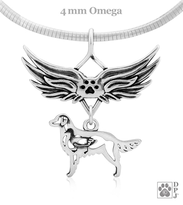 Sterling Silver Flat-Coated Retriever Pendant, Body, w/Tears In Heaven -- new