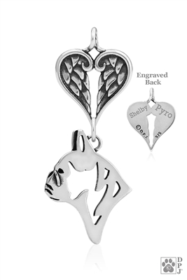 Personalized French Bulldog Angel Wing Necklace, French Bulldog Memorial Pendant Jewelry, Frenchie Sympathy Gifts