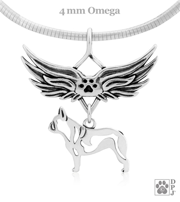Sterling Silver French Bulldog Angel Wing Necklace, French Bulldog Memorial Pendant Jewelry, French Bulldog Sympathy Gifts