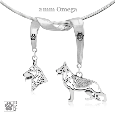 Fine German Shepherd Jewelry Gifts, Sterling Silver German Shepherd Pendant Necklace, Grand Champion German Shepherd, Best in Show German Shepherd