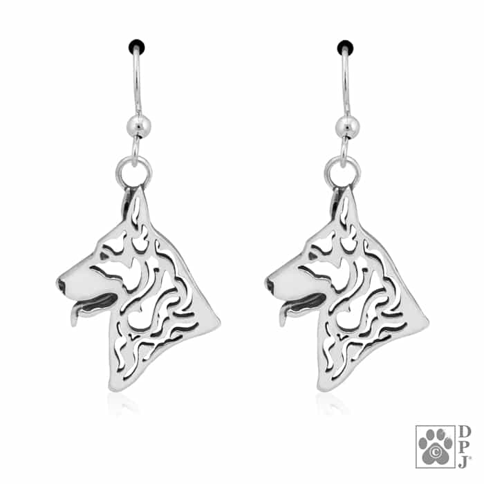 Sterling Silver German Shepherd Dog Jewelry German Shepherd Dangle