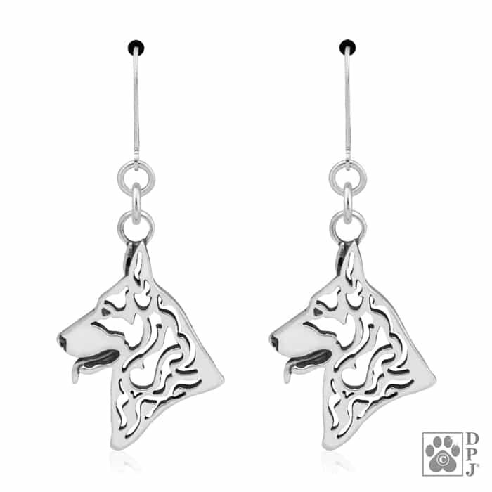 Sterling Silver German Shepherd Dog jewelry, German Shepherd dangle ...