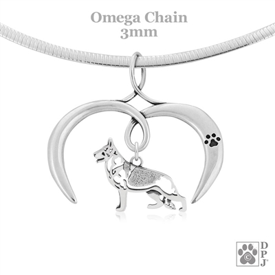 I Love My German Shepherd Necklace, Sterling Silver German Shepherd Dog necklace