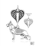 Sterling Silver German Shepherd Dog Pendant, Body w/Healing Angels -- new