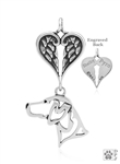 Sterling Silver German Shorthaired Pointer Pendant, Head w/Healing Angels -- new