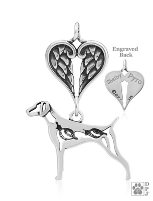 Sterling Silver German Shorthaired Pointer Pendant, w/Quail in Body, w/Healing Angels
