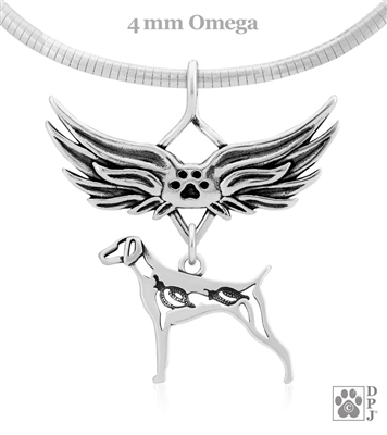 Sterling Silver German Shorthaired Pointer Angel Wing Pendant Necklace, German Shorthair Memorial Jewelry, GSP Sympathy Gifts