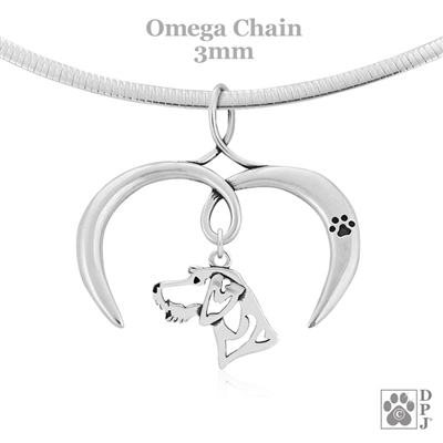 I Love My German Wirehaired Pointer Necklace, Sterling Silver German Wirehaired Pointer necklace