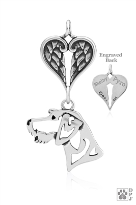 Personalized Sterling Silver German Wirehaired Pointer Pendant, Head w/Healing Angels