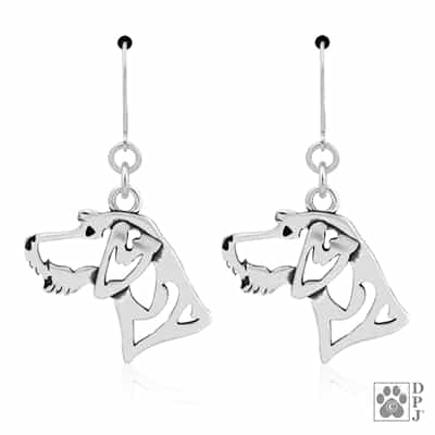 Sterling Silver German Wirehaired Pointer Earrings, German Wirehaired Pointer Jewelry, German Wirehair Gifts