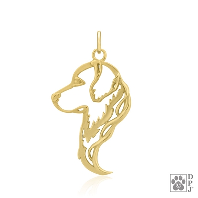 Gold Golden Retriever Pendant, Golden Retriever Gifts, 14K Gold Golden Retriever Charm