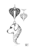 Personalized Sterling Silver Golden Retriever Pendant, Head w/Healing Angels