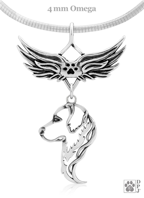 Sterling Silver Golden Retriever Angel Wing Necklace, Head