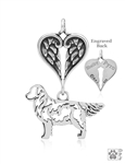 Personalized Sterling Silver Golden Retriever Pendant, Body w/Healing Angels
