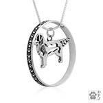 Sterling Silver Golden Retriever Necklace w/Paw Print Enhancer, w/Pheasant in Body