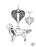 Sterling Silver Golden Retriever Pendant, w/Pheasant in Body, w/Healing Angel -- new