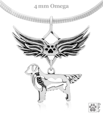 Sterling Silver Golden Retriever Pendant, w/Pheasant in Body, w/Tears In Heaven