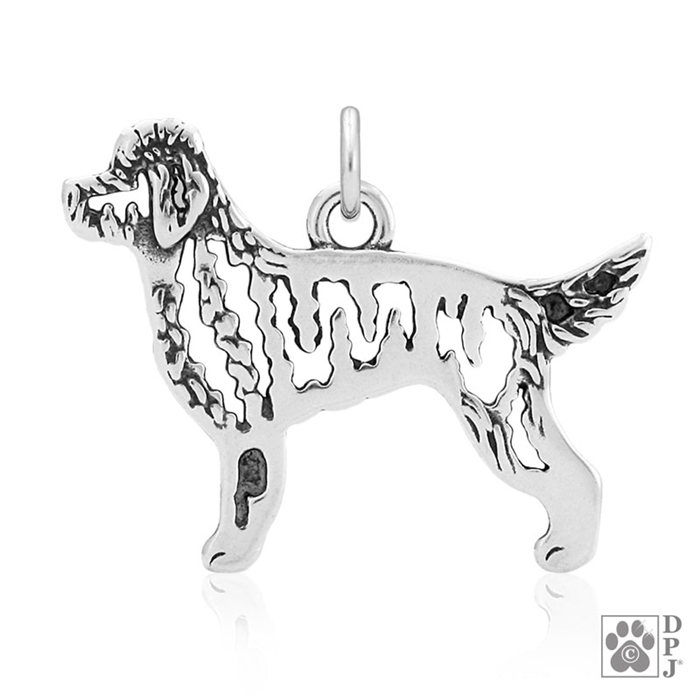 Sterling Silver Goldendoodle Pendant, Body