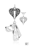 Personalized Sterling Silver Gordon Setter Pendant, Head w/Healing Angels