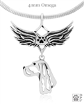 Sterling Silver Gordon Setter Angel Wing Necklace, Head