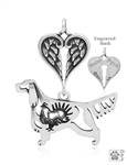 Sterling Silver Gordon Setter Pendant, w/Grouse in Body, w/Healing Angels -- new