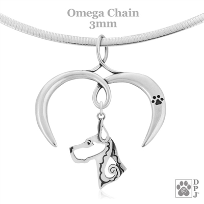 I Love My Great Dane Necklace, Sterling Silver Great Dane necklace