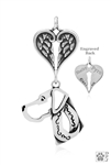 Sterling Silver Great Dane Pendant, Natural Ears, Head w/Healing Angels -- new