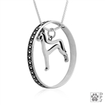 Sterling Silver Great Dane Necklace w/Paw Print Enhancer, Body