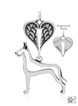Sterling Silver Great Dane Pendant, Cropped Ears, Body w/Healing Angels -- new