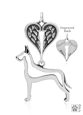 Personalized Sterling Silver Great Dane Pendant, Cropped Ears, Body w/Healing Angels