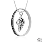 Sterling Silver Great Pyrenees Necklace w/Paw Print Enhancer, Head