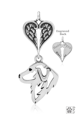Sterling Silver Great Pyrenees Pendant, Head w/Healing Angels -- new