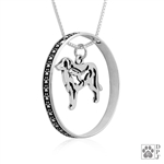 Sterling Silver Great Pyrenees Necklace w/Paw Print Enhancer, Body