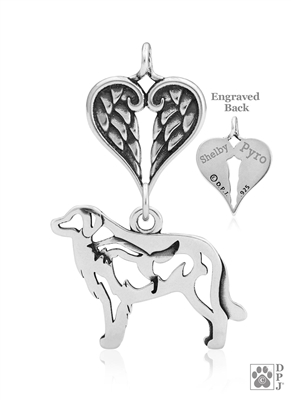 Sterling Silver Great Pyrenees Pendant, w/Fox in Body, w/Healing Angels -- new