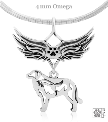 Sterling Silver Great Pyrenees Angel Wing Necklace, Great Pyrenees Memorial Pendant Jewelry, Great Pyrenees Sympathy Gifts