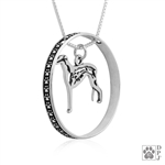Sterling Silver Greyhound Pendant, w/Fox in Body, w/Colossal Blinger -- new