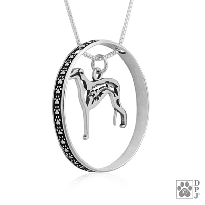 Sterling Silver Greyhound Necklace w/Paw Print Enhancer, Body