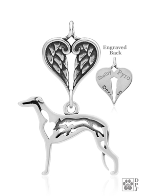 Sterling Silver Greyhound Pendant, w/Fox in Body, w/Healing Angels -- new