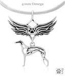 Sterling Silver Greyhound Angel Wing Necklace, Greyhound Memorial Pendant Jewelry, Greyhound Sympathy Gifts